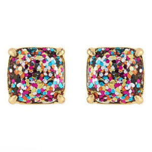 KATE SPADE Multi Glitter Square Stud Earrings